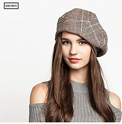 Women Fashion Classic French Artist Beret Hat grid Cap Newsboy Beret Cap Hat Wool blend fabric (Brown) by Shenzhen EINSKEY Electronic Limited