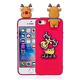 HengJun Für iPhone 5 / 5S / SE Christmas Series Fall-Abdeckung, stoßsicherer Gummi-Kasten für iPhone 5 / 5S / SE - Weihnachtselche Rot