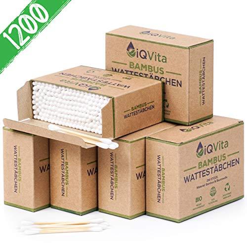 EINFÜHRUNGSANGEBOT - 1200 Bambus Wattestäbchen (6 x 200 Stück) - 100% Plastikfrei, Biologisch Abbaubar, Vegan & Nachhaltig - Reines Naturprodukt