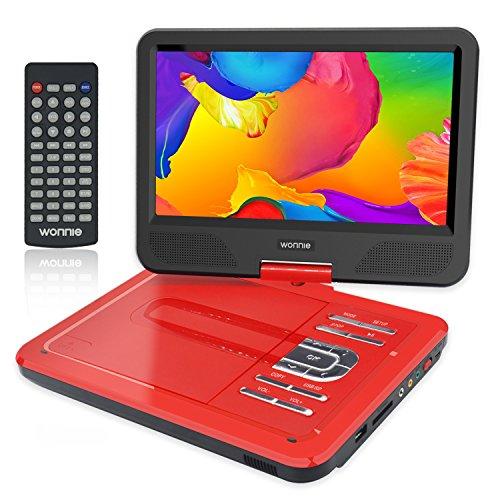 """WONNIE 10.5"""" Tragbarer DVD-Player, Schwenkbaren Bildschirm, HD Display 4-5 Stunden Akku, USB/SD Slot, Perfekte Geschenke für Kinder (Rote)"""