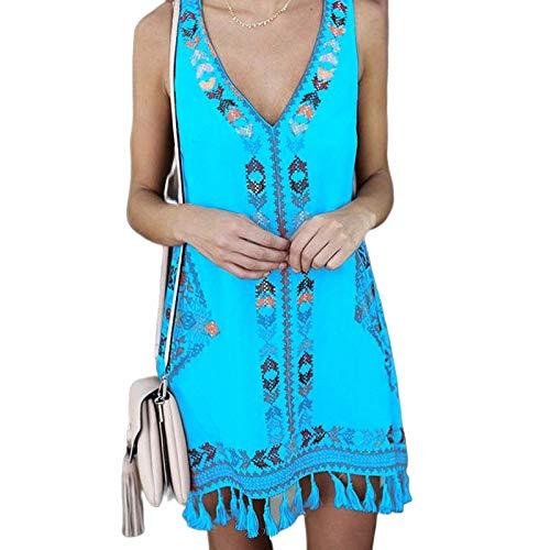 FeiXing158 Sommerkleid 2019 Mode ärmellos kurzen Absatz böhmischen ethnischen Vintage Kleid Dame (Mouse-mini-cutter Mickey)