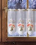 Bestickte Scheibengardine SCHNEEMANNKINDER 35cm / 55cm hoch Plauener Spitze, Weihnachtsgardine, Weihnachtsdeko