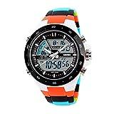 CCWL Reloj Deportivo Reloj Deportivo para Hombre Reloj para Hombre 5atm Buceo Natación Reloj Digital de Moda Reloj multifunción Reloj de ParejaNaranja Colorido stra