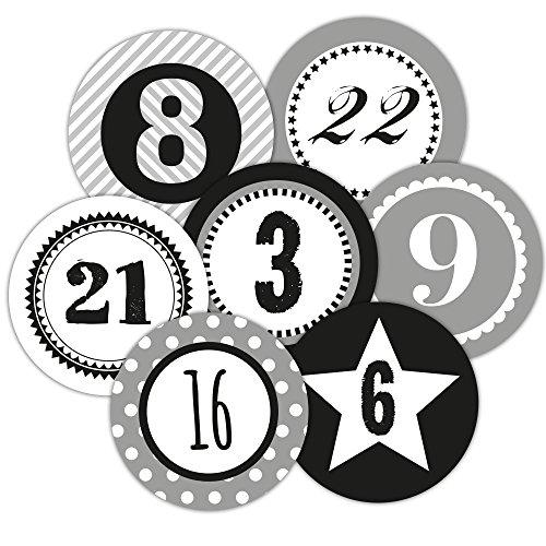 Frau WUNDERVoll 48 Adventskalenderzahlen Aufkleber, für 2 Kalender, grau, Durchmesser 4cm
