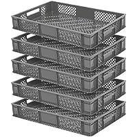 5x Eurobehälter durchbrochen/Stapelkorb, lebensmittelecht, LxBxH 600 x 400 x 90 mm, grau