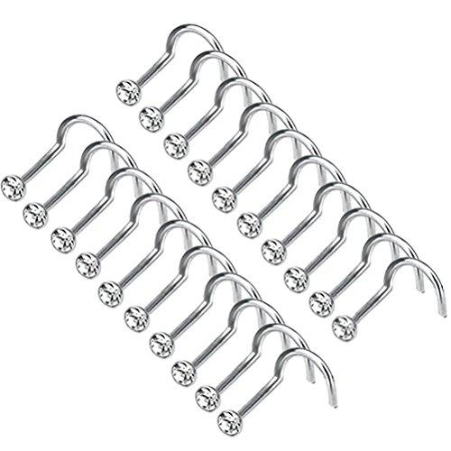 MCREE 20PCS Edelstahl biegsam Piercing Haken Stud Nase Ring Strass Vergoldet ohne Piercing/Piercing Nase Body Jewelry weiß (Klare Nase Piercing Stud)