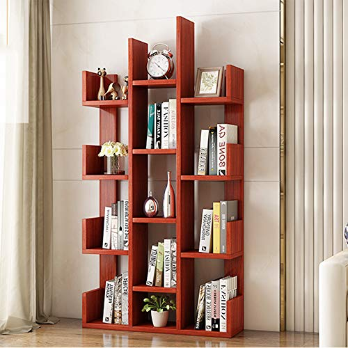 Shelves Duo Bücherregal Bücherregal, Moderne Bücherregal Bücherregal Display Storage Organizer Regale für CDs, Schallplatten, Bücher, Home Office Deco Hängeregal, (Farbe : Teak Color) -