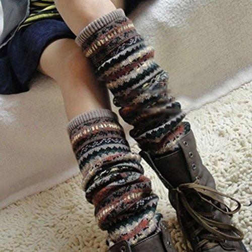 Yuhemii Frauen Winter Warm Lange Stulpen Knit Crochet Socken Legging Weihnachtsstrumpf (Khaki) -