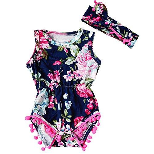 Kinderkleid Honestyi Mädchen Blume Gedruckt Haberdash Kopfschmuck Set Neugeborenen Kleinkind Baby Mädchen Floral Bodysuit Overall Sunsuit Kleidung Set (DunkeBlau,90)