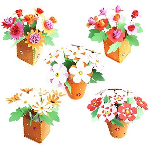 Domybest Kinder Kinder DIY 3D EVA-Schaum Spielzeug Early Learning Puzzle Toys Craft Kits Weihnachten Halloween Geschenke Home Kindergarten Decor (Blumentopf) (Halloween Craft Kindergarten)