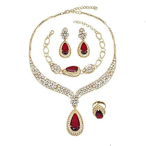 Jewelry Gold Necklace Bracelet Imitation Jewelery Earrings Necklace Jewelry Set , red
