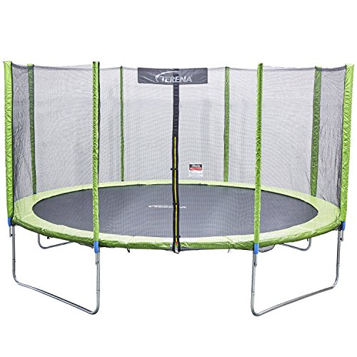 Terena® Premium Trampolin neongrün 183 244 305 366 427cm mit Netz Sicherheitsnetz Gartentrampolin für Kinder (305)