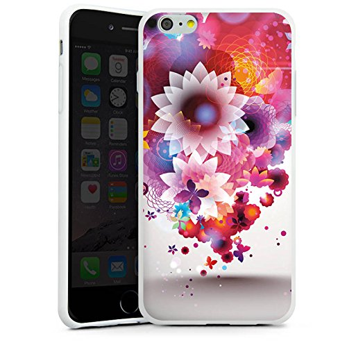 Apple iPhone X Silikon Hülle Case Schutzhülle Bunt Blumen Schmetterlinge Silikon Case weiß