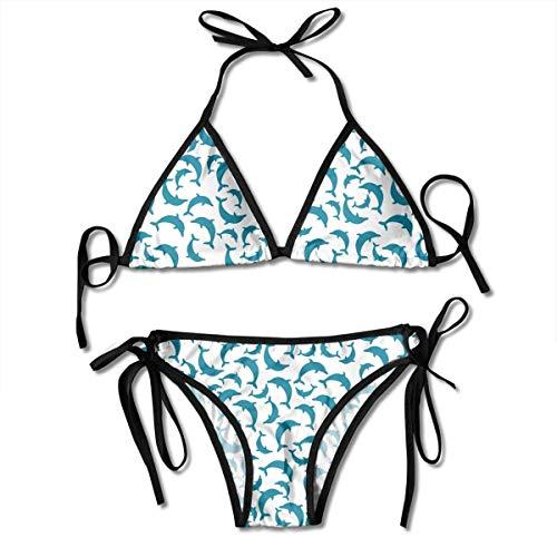 Womens Triangle Bikini Dolphins Pattern Printing Bathing Suit