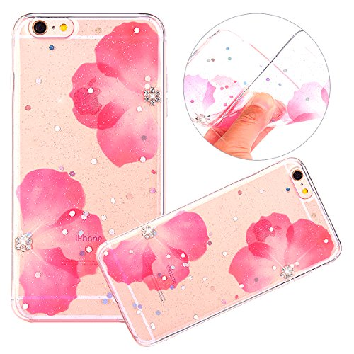 Cover iPhone 6 / 6S - Custodia in Glitter Silicone TPU - Surakey Belle iPhone 6S Custodia Brillantini Fiore Bling Diamante Trasparente Slim Ultra Sottile Gomma Morbida Gel Case Antigraffio Antiurto Fl Fiore Rosa