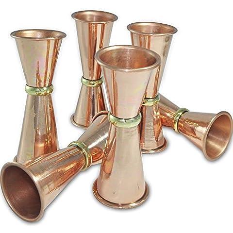 Dungri India Craft ® (Ensemble de 6) Jigger en cuivre massif Premium - 30ml (1 Oz) et 60ml (2 Oz) - Coupe de mesure Spirit, verres à double face, Cocktail Cocktail