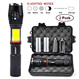 2 Pack Led Torch With Magnetic Base - 6 Modes,1000 Lumens Super Bright,Zoomable,IPX6