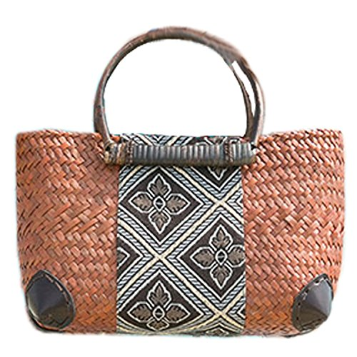 broderie à la main en tricot / armure toile de sac à main de bambou rotin paille / sacoche / Sacs portés épaule / Sacs portés main B type jaune