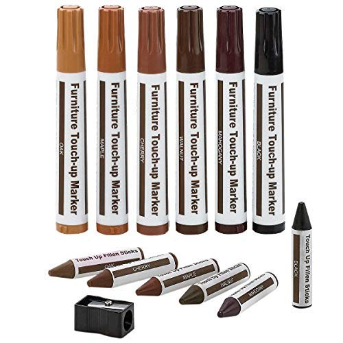 Katzco Furniture Repair Markers and Wax Sticks with Sharpener Kit for Scratches, Nicks, Scuffs - Set of 13