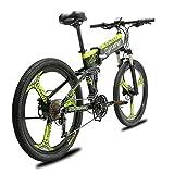 Extrbici Bicicleta de montaña MTB XF770 17 * 26'Bicicleta eléctrica Plegable Montaña 250 vatios 48V Shimano 27 Velocidad Marco de aleación de Aluminio Suspensión Plegable Doble Freno mecánico (Green)