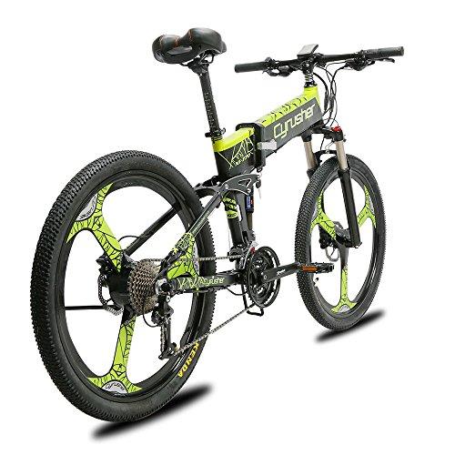 """Extrbici Bicicleta de montaña MTB XF770 17 * 26""""Bicicleta eléctrica Plegable Montaña 250 vatios 48V Shimano 27 Velocidad Marco de aleación de Aluminio Suspensión Plegable Doble Freno mecánico (Green)"""