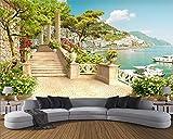 WAHAZC 3D Fresko Tapete Hintergrundbild Wandbild Silk Benutzerdefinierte Garten Balkon Treppen Seeblick Wohnzimmer Schlafzimmer Tv Sofa Hintergrund Wand Tapete, L350 * W256Cm