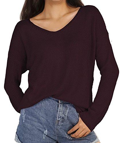 HENCY Damen Lose Pullover Langarm Strickpullover Pulli Sweater Übergröße V Ausschnitt Herbst Winter Weinrot Small
