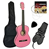 Tiger Guitare classique 3/4 avec accessoires Rose jasmin