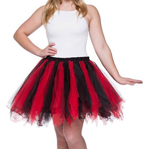 Dancina Damen Petticoat 50er Jahre Retro Tutu Tüllrock [Sticker XL] Rot/Schwarz Gr. ()