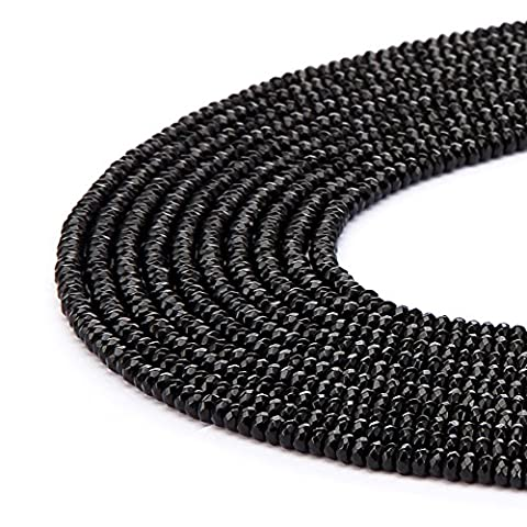 BRCbeads Gorgeous Natural Black Onyx Gemstone Faceted Roundell Loose Beads 5*8mm Approxi 15.5 inch 80pcs 1 Strand per Bag for Jewelry Making
