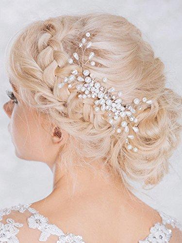 Tocado Aukmla con detalles brillantes para novia, peineta de boda con perlas y diamantes de imitación para mujeres y niñas
