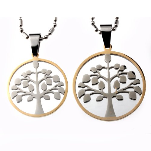 Tree of Life Matching Couple Stainless Steel Pendant Set