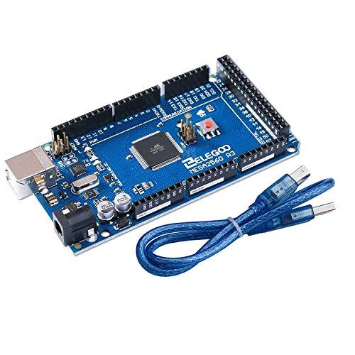 Elegoo Kompatibler Mikrocontroller Mega2560R3 Board mit ATmega2560 USB Kabel in Blau (Mega2560R3, Blau) (Flash-speicher-eeprom)