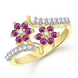 Meenaz Ruby Ring 24k Fancy Flower Party ...