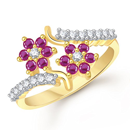 Meenaz Jewellery Gold Plated Red Rings For Girls Women In American Diamond CZ Ring Jewellery Set For Women- Finger ring 328