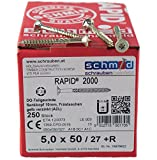 RAPID 2000, Senkkopf, TORX Antrieb (TX25), Teilgewinde, Doppelgewindegang, Reibteil, Yellwin500+ Oberfläche, CR(VI)-frei, 250Stück, 5x50/27