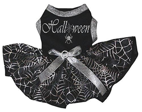 Kostüme Tutu Spider (petitebelle Puppy Kleidung Hund Kleid Halloween schwarz Top Silber Cobweb)