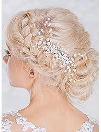 15ac41c0b9 Tocado Aukmla con detalles brillantes para novia