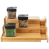 SleekDine Bamboo Expandable Spice Rack – Bamboo Spice Rack Organizer for Cabinet or Counter – Bamboo Spice Shelves – Bamboo Spice Organizer – 3-Tier Spice Rack – Wooden Spice Rack – Cabinet Organizer