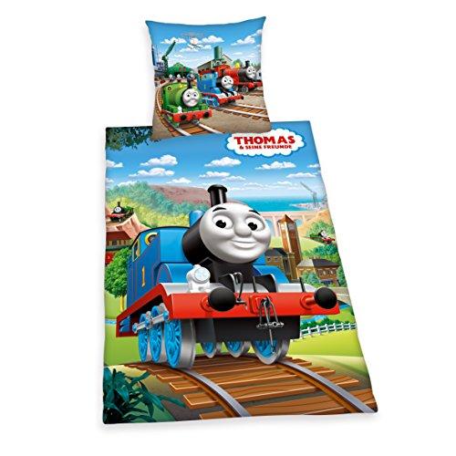 Herding 443551050 Bettwäsche Thomas und seine Freunde, Kopfkissenbezug: 80 x 80 cm und Bettbezug: 135 x 200 cm, 100 % Baumwolle, Renforce