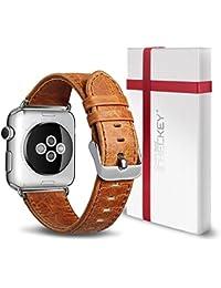 Apple Reloj Correa 38mm/42 mm – ICHECKEY Piel Auténtica iWatch Pulsera Banda De Reemplazo Para iWatch 1, iWatch 2, iWatch 3 Con Seguro Cierre De Metal