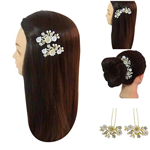 Vogue Hair Accessories Shell Flowers With Pearls Golden And Off White Color Hair Accessories Bun Pins Juda Pins Hair Clip For Women
