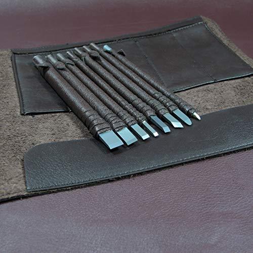 ChengYi Kit Enrollable De Cuero De 8 Piezas De Cinceles De Acero CYKD02