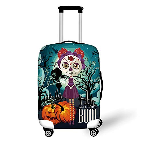 Suitcase Protector,Halloween,Cartoon Girl with Sugar Skull Makeup Retro Seasonal Artwork Swirled Trees Boo Decorative,Multicolor,for Travels 19x27.5Inch ()