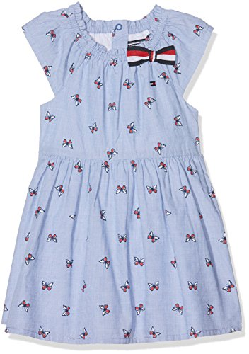 Tommy Hilfiger Mädchen Sunny Butterflies Baby Dress S/S Kleid, Blau (Bright Cobalt 404), 74