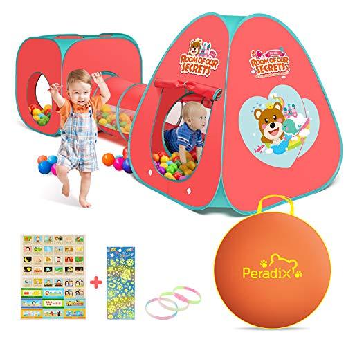 Peradix Spielzelt Kinderzelt Babyzelt mit krabbeltunnel 3-Teiliges Bällebad Spielhaus mit Zelt Tasche und Tunnel für Zuhause & im Garten (Rosa)