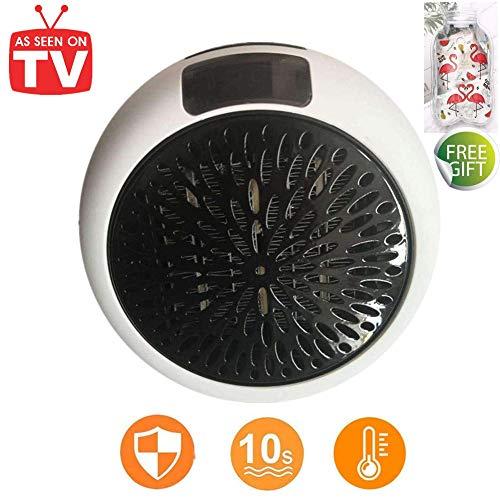 Nifogo Portable Heater - Mini Estufa Eléctrica 1000 W Termoventilador Bajo Consumo con Termostato Ajustable, Temporizador de 12 Horas & Adaptador Giratorio Calefactor (White)