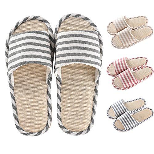 Cityelf Herren Damen Hausschuhe Baumwolle Rutschfest Leichtgewichts Pantoffeln überdacht Slipper (Herren EU 43-44, Schwarz)