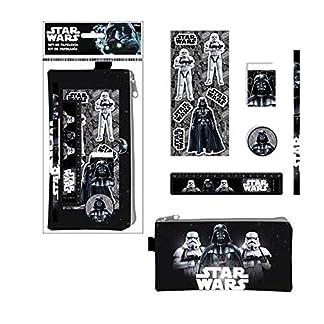 ALMACENESADAN 2383; Pack Escolar Disney Star Wars Negro, Darth Vader y Trooper; 6 Piezas; Compuesto por portatodo 20×10 cm; lapicero, Goma, sacapuntas, Regla y Sticker