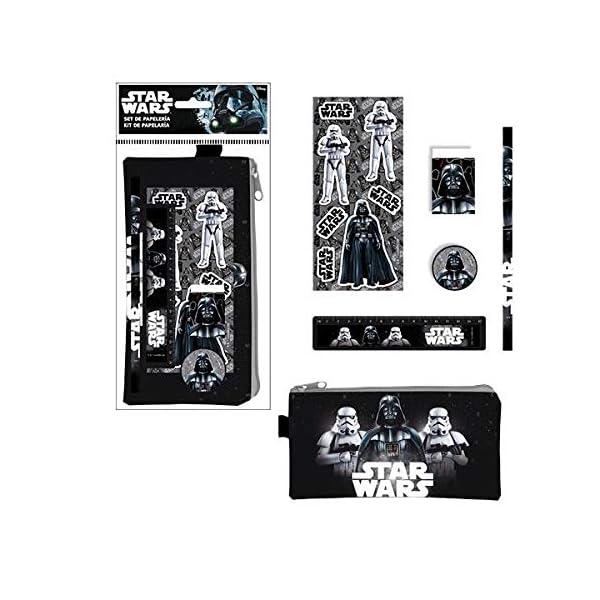 ALMACENESADAN 2383; Pack Escolar Disney Star Wars Negro, Darth Vader y Trooper; 6 Piezas; Compuesto por portatodo 20×10…